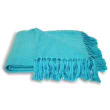 kingfisher blue Woven Fringed Throw