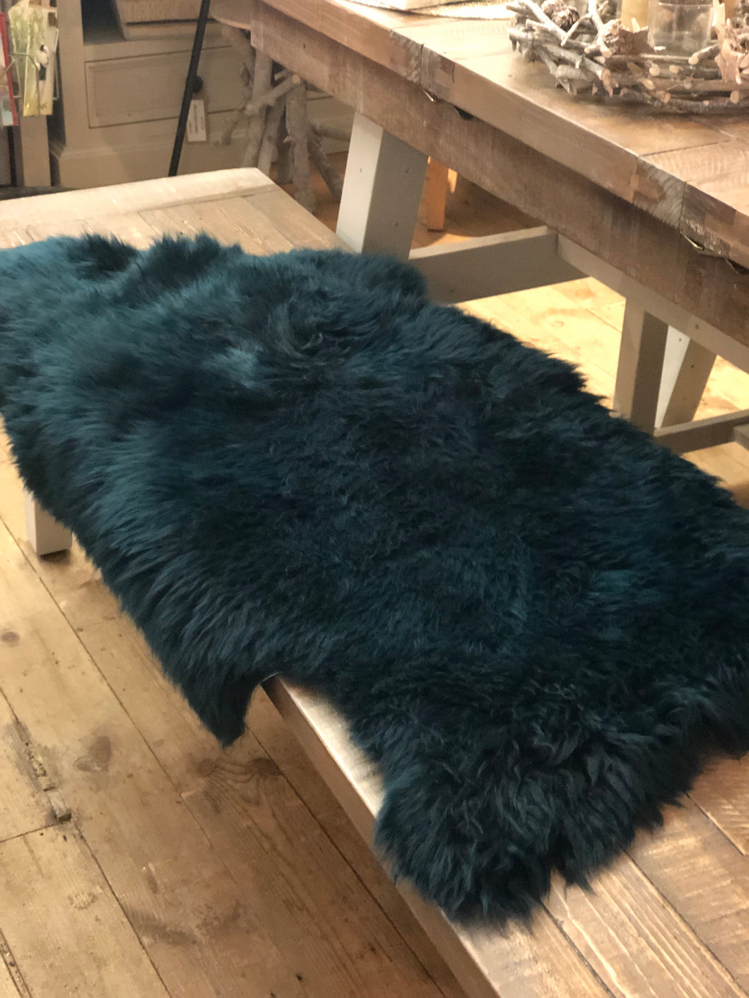Long Wool Large Teal Sheepskin