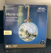 LED 40 Glass Ball with Pine Branch and Rope 20cm