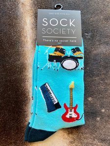 light blue Musical Instrument Socks