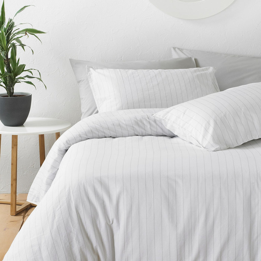 Linear King Duvet Set White|Grey