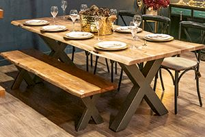 Live Edge Natural Wood Dining Table