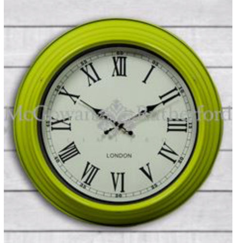 Retro Metal Round London Wall Clock green home decor style accessories