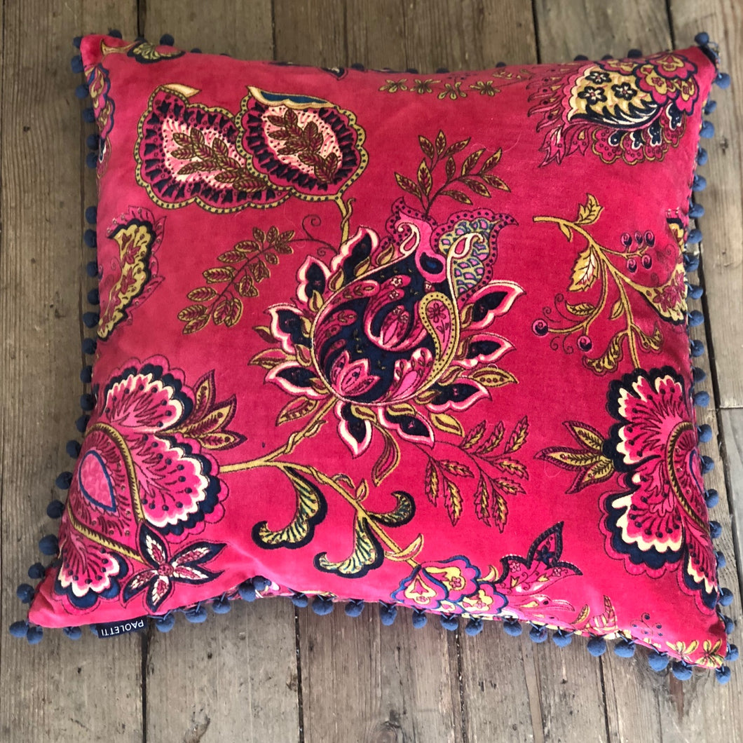 Malisa Velvet Pom Pom Cushion home decor style accessories floral pillows pomegranate