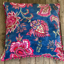Malisa Velvet Pom Pom Cushion home decor style accessories floral pillows smoke blue