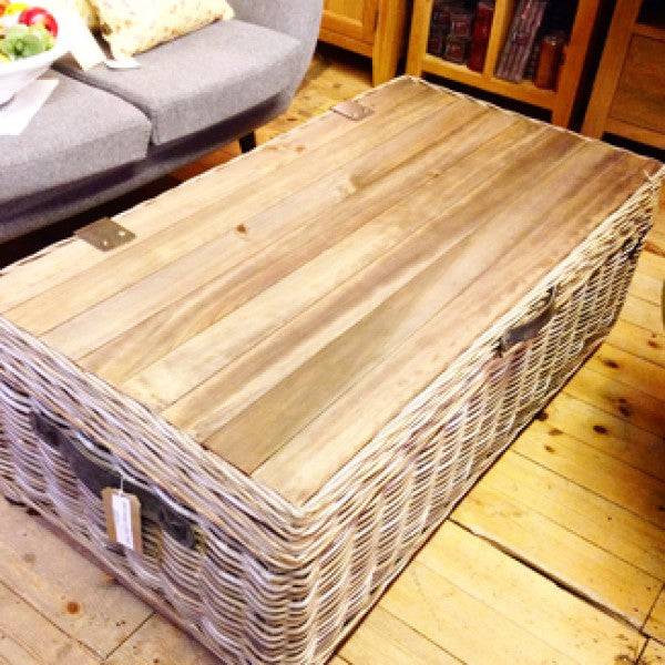 Maya Rattan Grey Wash Storage Coffee Table