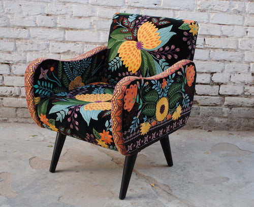 Hand Embroidered Velvet Armchair