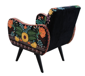 BACK VIEW Hand Embroidered Velvet Armchair