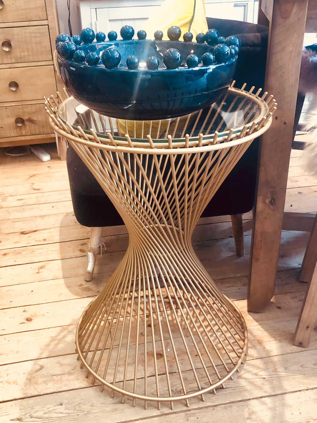 Gold Leaf Metal Twist Side Table With Glass Surface