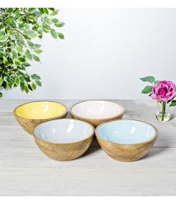 Enameled Wooden Bowl | Yellow