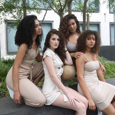 curly hair models in white