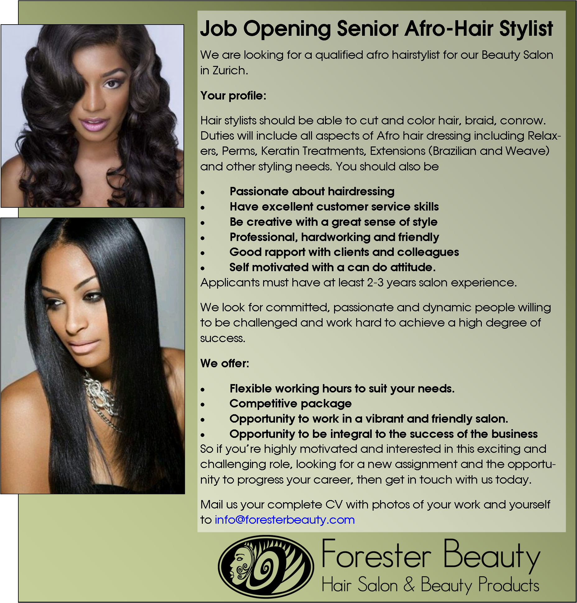 Afro Hair Stylist wanted