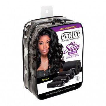 Firstline® Evolve® 30PK Satin Black rollers, Clear square pouch