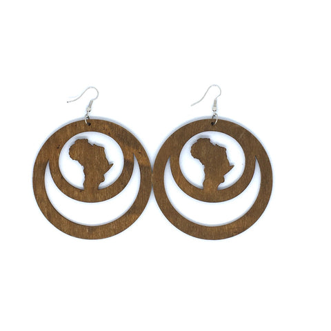 Wooden Earrings African Circle