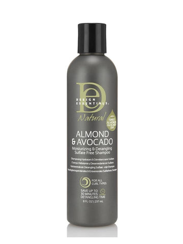 Design Essentials ALMOND & AVOCADO MOISTURIZING & DETANGLING SULFATE-FREE SHAMPOO 8oz