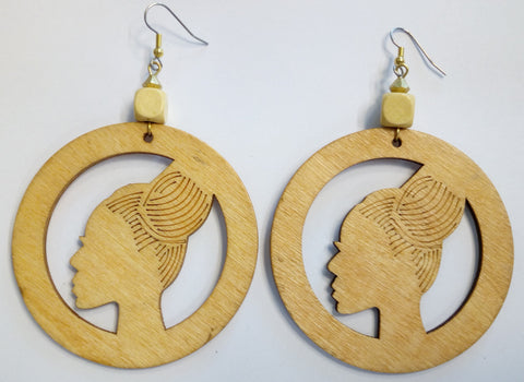 Afro Bun Wooden Earrings