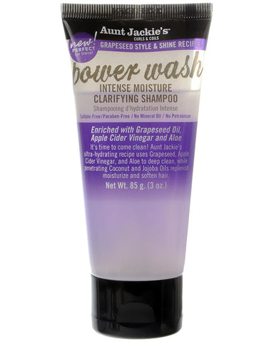 Aunt Jackie's Grapeseed Style & Shine Recipes POWER WASH Intense Moisture Clarifying Shampoo 85 ML / 3 Oz