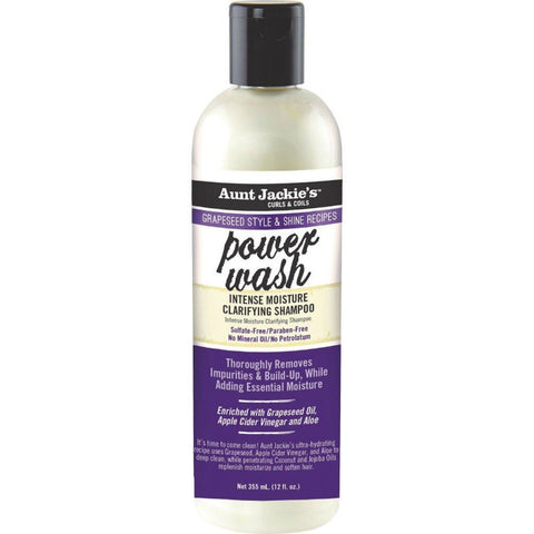 Aunt Jackie's Grapeseed Style & Shine Recipes POWER WASH Intense Moisture Clarifying Shampoo 355 ML / 12 Oz