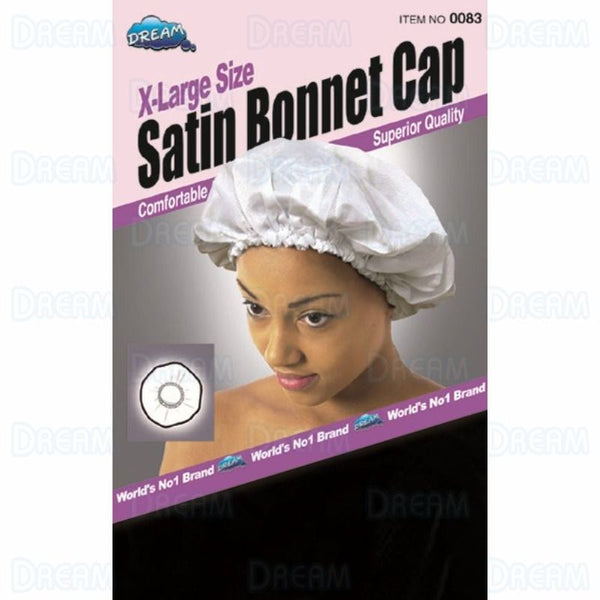 DREAM WOMENS SATIN BONNET CAP [XL] Black