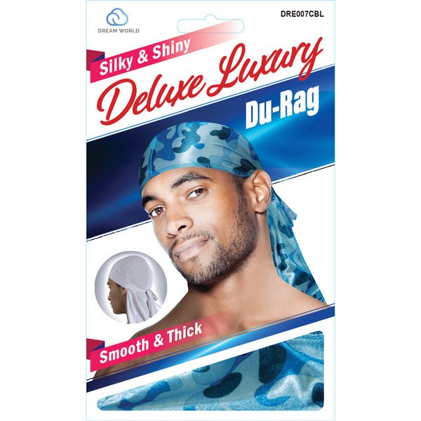 Dream Silky & Shiny Deluxe Luxury Du-Rag Camouflauge Blue