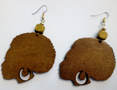 Sassy Afro Chick Wooden Earrings