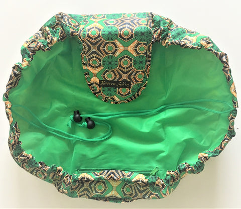 Brown Skin Afroprint Drawstring Cosmetic Bag Green