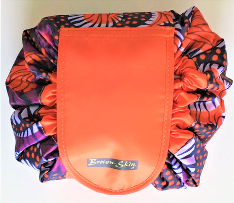 Brown Skin Afroprint Drawstring Cosmetic Bag Orange