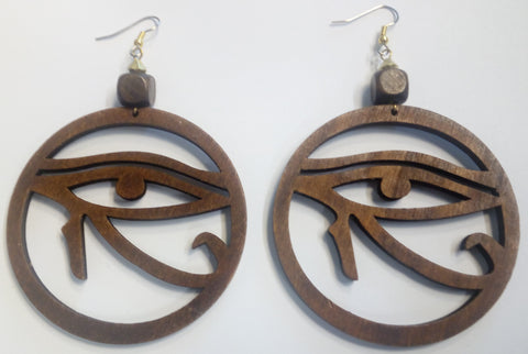 Eye of Horous Wooden Earrings