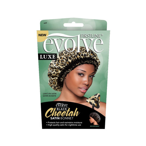 Firstline® Evolve Black Cheetah Satin Bonnet