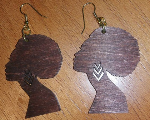 Afro Chick Wooden Earrings