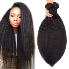 "Brazilian Unprocessed Remy Human Hair Weave 16"" Kinky Straight"