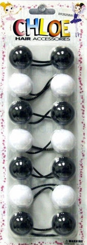 Chloe Jumbo ponytail holders black & white