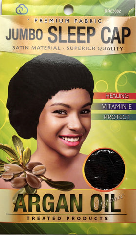 Dream Argan Oil Treated Jumbo Sleep Cap Black