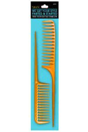 Sleek Wide-Tooth 2 Pack Rat Tail Comb Set