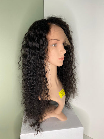 Indian Virgin Human Hair Front Lace Wig Spanish Wave 20""