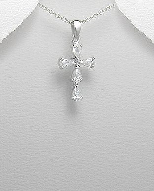 Silver Jewelry Cross with rhinestones