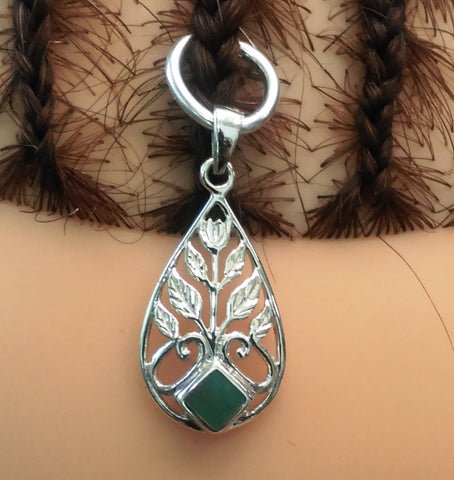 Silver Jewelry Leaf and Malachite Pendant