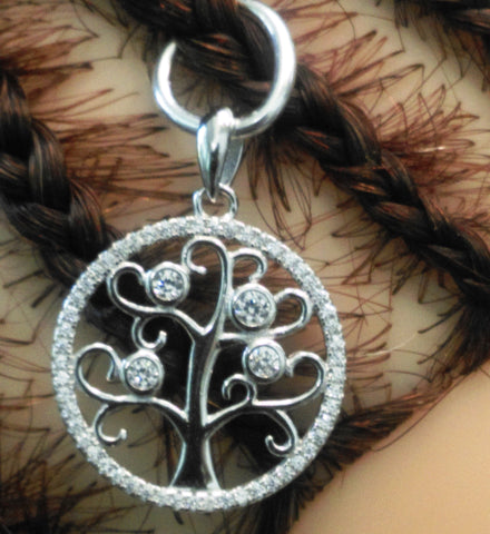 Silver Jewelry Tree of Life rhinestones