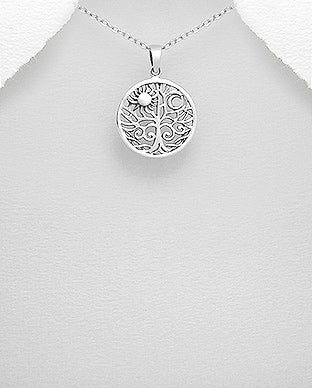 Silver Jewelry Tree of Life with sun