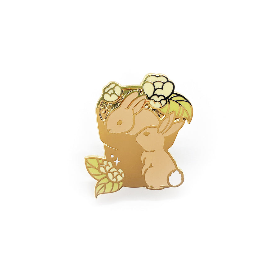 Flower Bunnies Pin