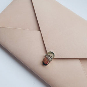 Wide Envelope Clutch in Natural