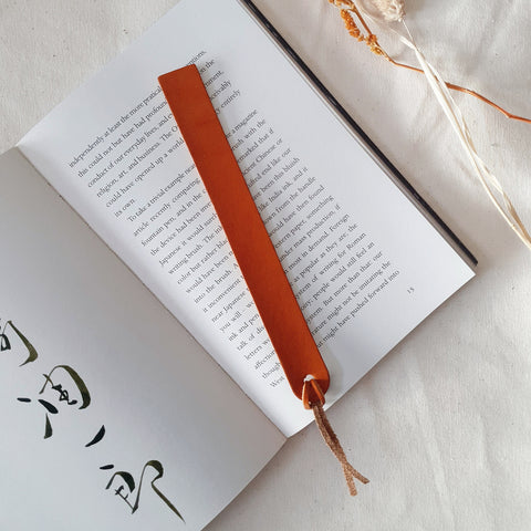 Bookmark in Cognac (Oak Tanned Leather)