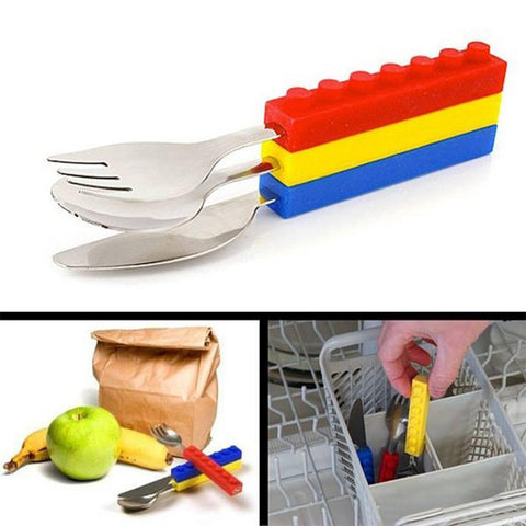 Kids' Interlocking Brick Cutlery