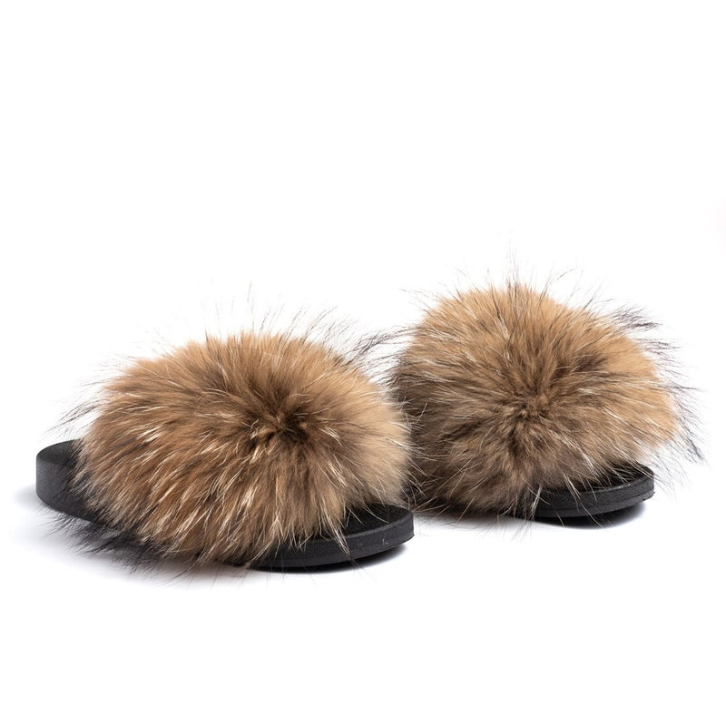 Natural Raccoon Fur Slides