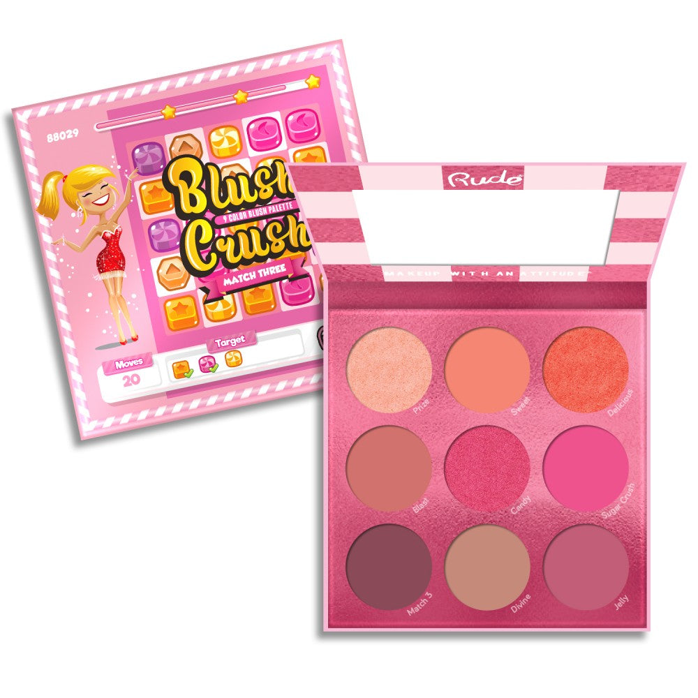 RUDE Blush Crush 9 Color Blush Palette - Match Three