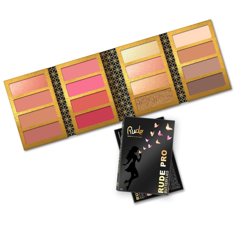 RUDE® PRO Butterflies - Blush/Highlight/Contour Palette | HODIVA SHOP
