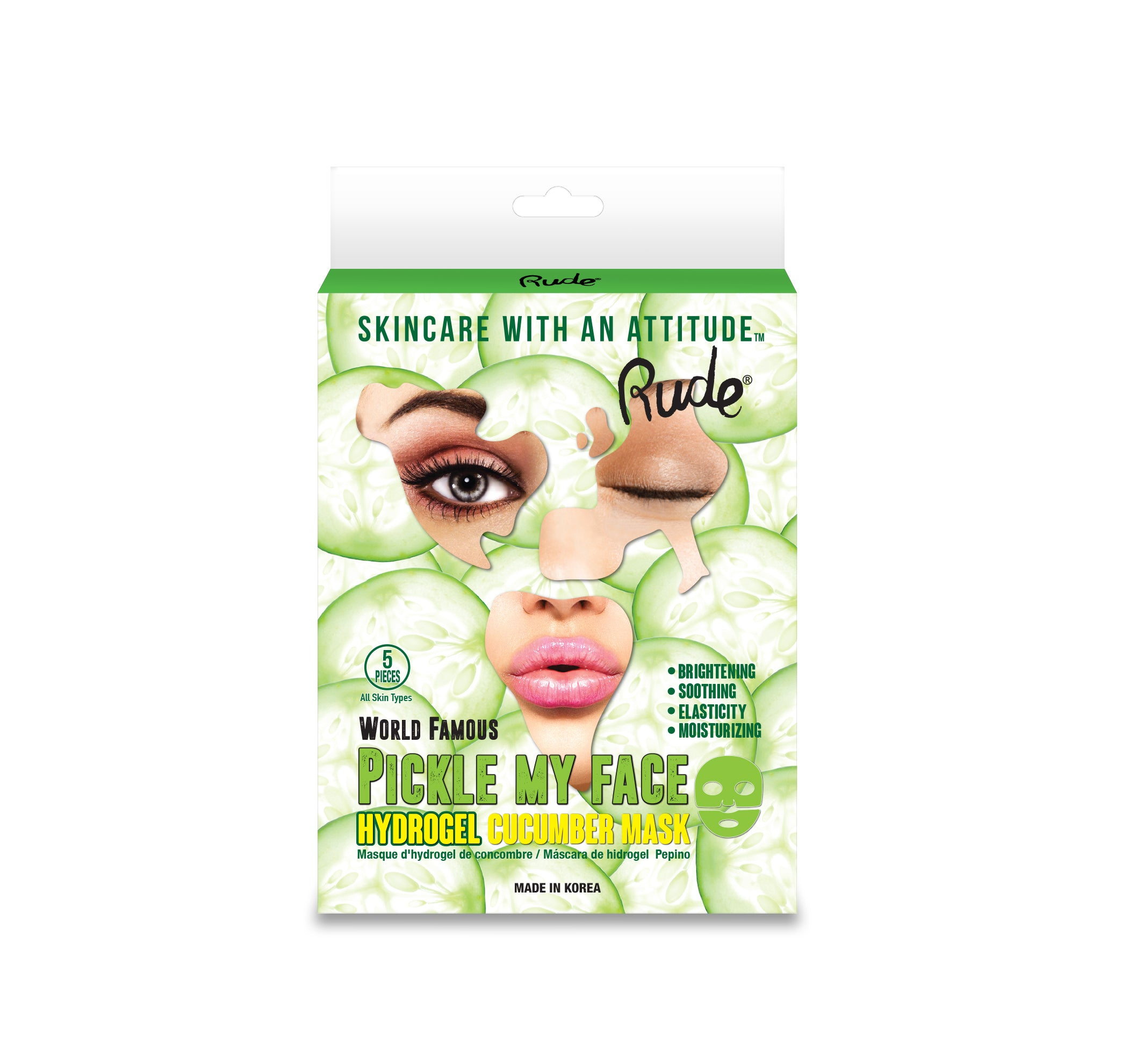 RUDE® Pickle My Face Hydrogel Cucumber Mask, Pack of 5 | HODIVA SHOP