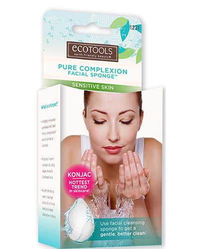 EcoTools Pure Complexion Facial Sponge - Sensitive Skin - White - Case of 12 Pieces