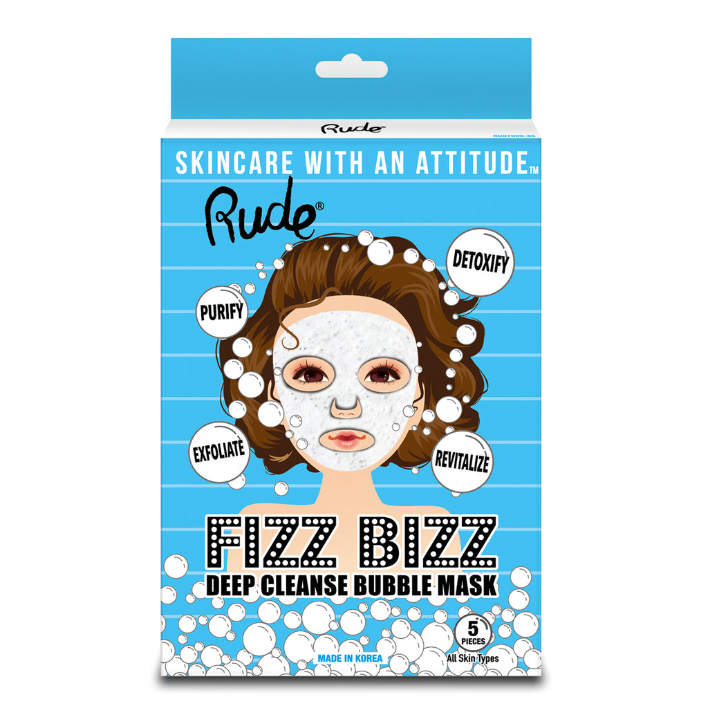 RUDE® Fizz Bizz Deep Cleanse Bubble Mask, Pack of 5