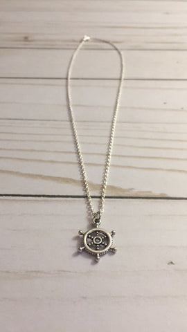 Ship Wheel Necklace - Silver